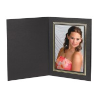 10x8 Chelsea Black Gold Foil Trim Photo Folder - 25 Pack