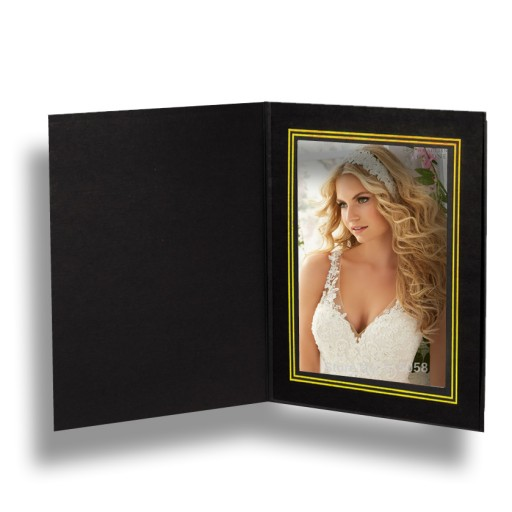 5x7 Chelsea Black Gold Foil Trim Photo Folder - 25 Pack 2