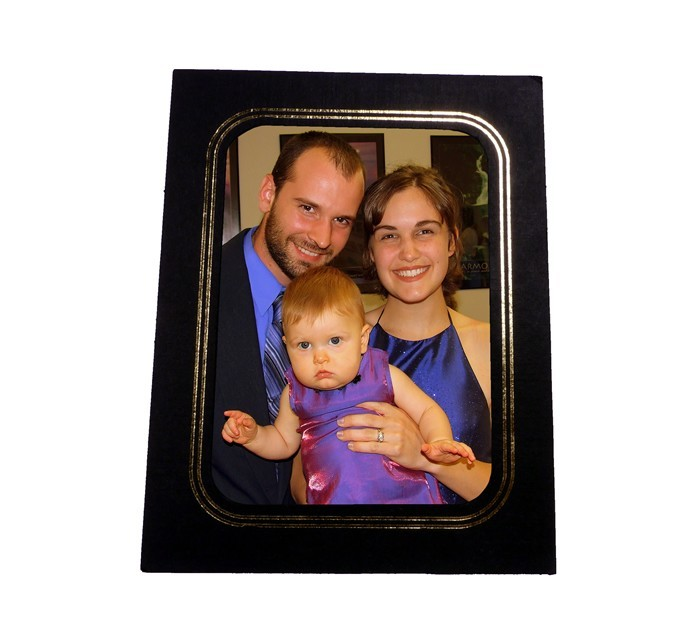 Gold Foil Black Photo Easel | Cardboard | 5x7 Picture