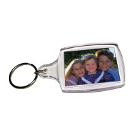 "1-3/8"" x 1-3/4"" Clear Acrylic Photo Key Chains"