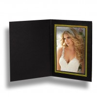4x6 Chelsea Black Gold Foil Trim Photo Folder 3